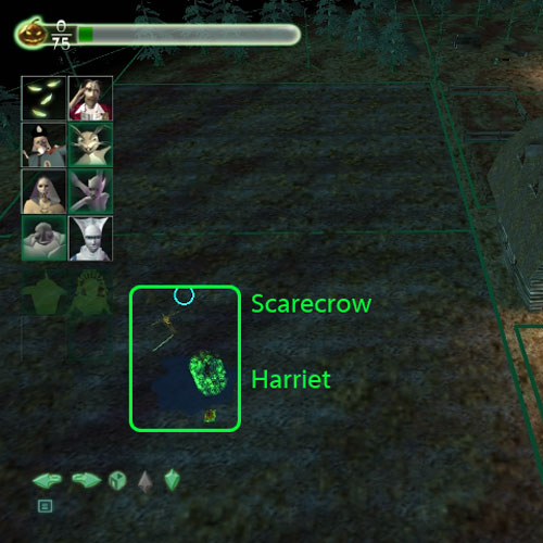 Scarecrow's location, in the field, and the binding location for Harriet.