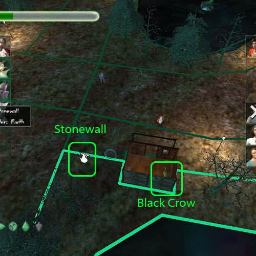 Black Crow is bound to the ground under the cabin. Here is the binding Location for Stonewall.